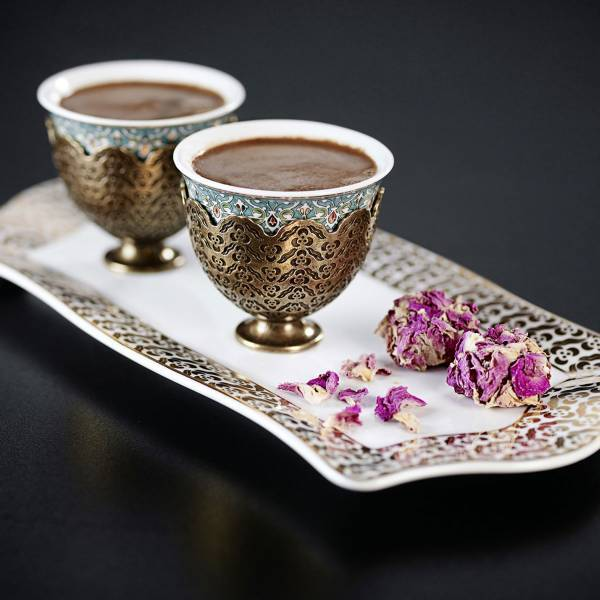 OK906 OKKA İsmail Acar Coffee Cup Set of Two with Tray - White